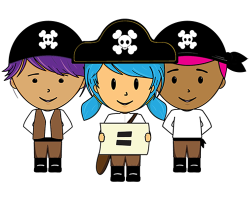 three young kids in a pirate outfits